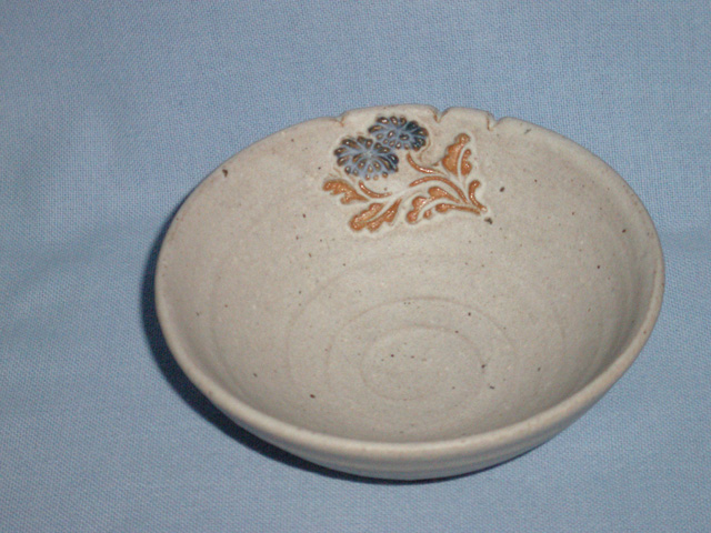 Small Stoneware Floral Bowl - Marked.