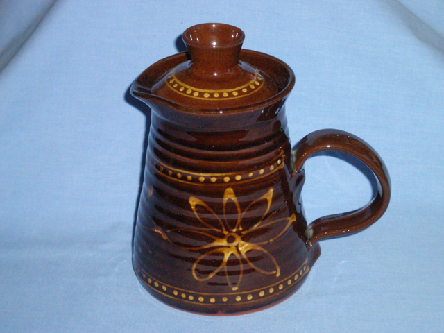 Rich Brown And Yellow Slipware Coffee Pot