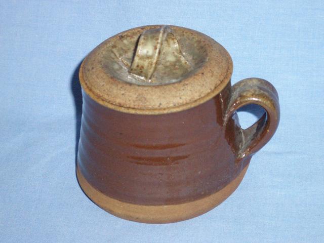 Deep Brown And Mottled Glaze Lidded Pot