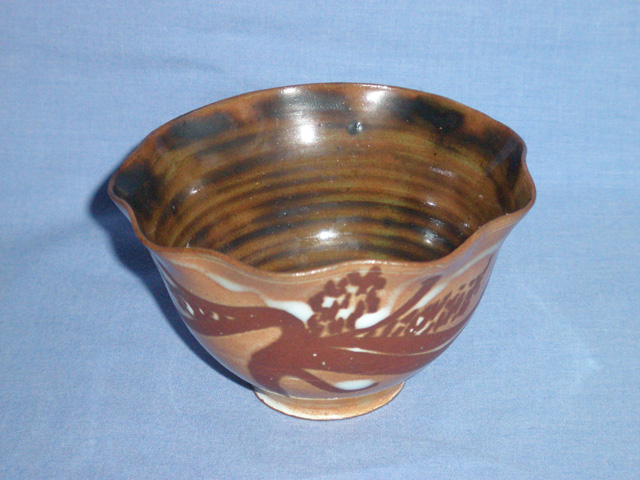 Tenmoku Glazed Fluted Bowl