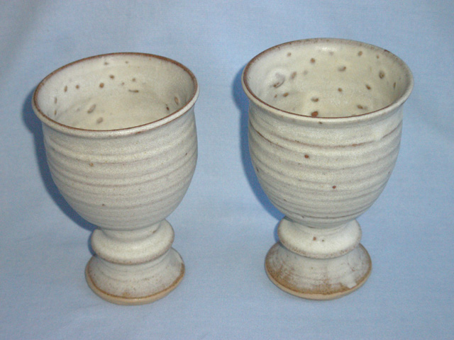 Two Studio Pottery Stoneware Goblets - Monogrammed