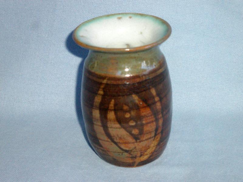 Stoneware Posy Vase Marked JS