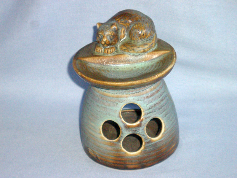 Pottery Cat Oil / Wax Burner / Candle Holder