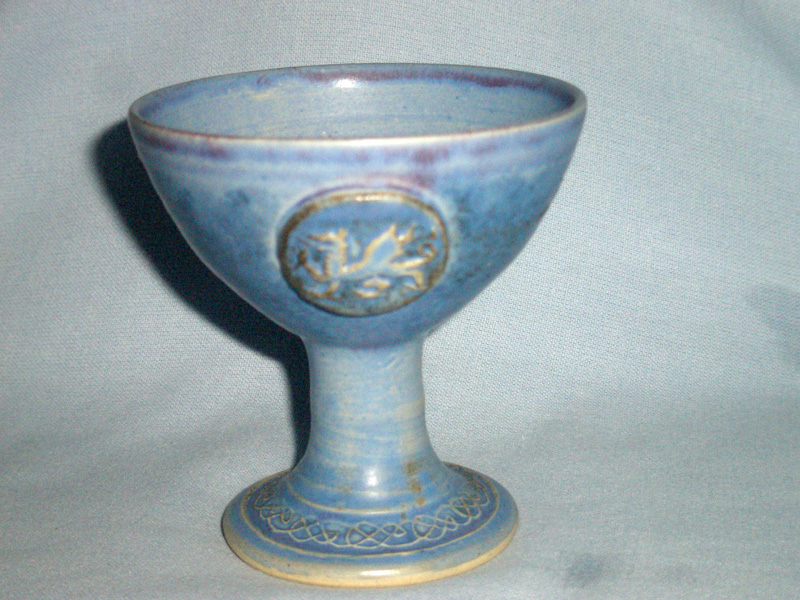 Welsh Conwy Studio Pottery Blue Dragon Goblet