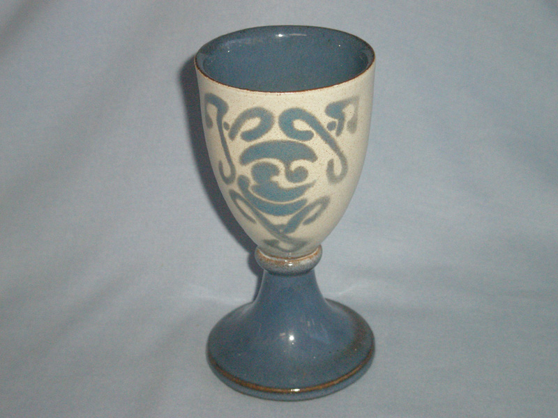 Welsh Laugharne Studio Pottery Celtic Wine Goblet