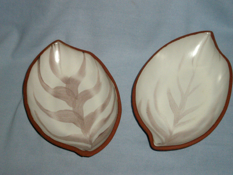 Two Strule Studio Pottery Ulster Leaf Dishes