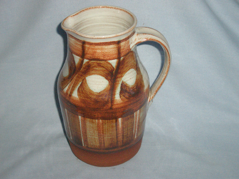 Retro Brown & White Studio Pottery Jug Marked TS