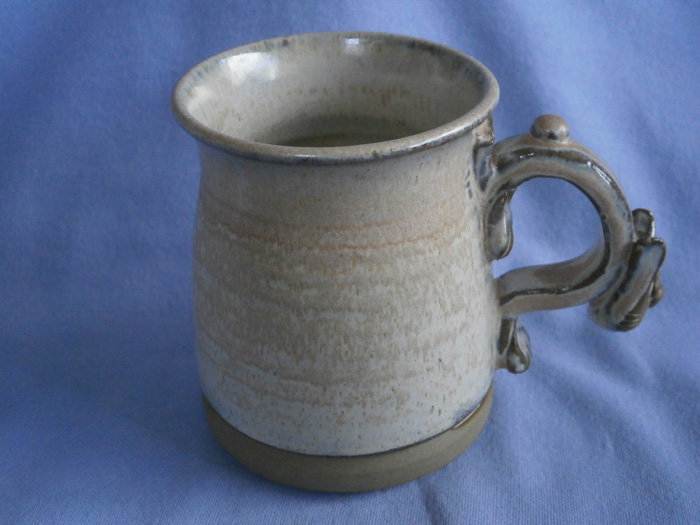 Stoneware Studio Pottery Mug With Cat Handle