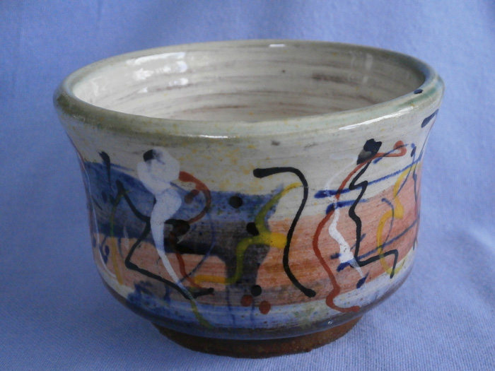 Colourful Abstract Slip Trailed Studio Pottery Pot - Stamped