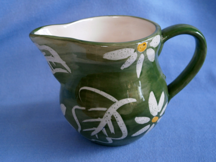 Suzanne Katkhuda Studio Pottery Green Floral Milk Jug