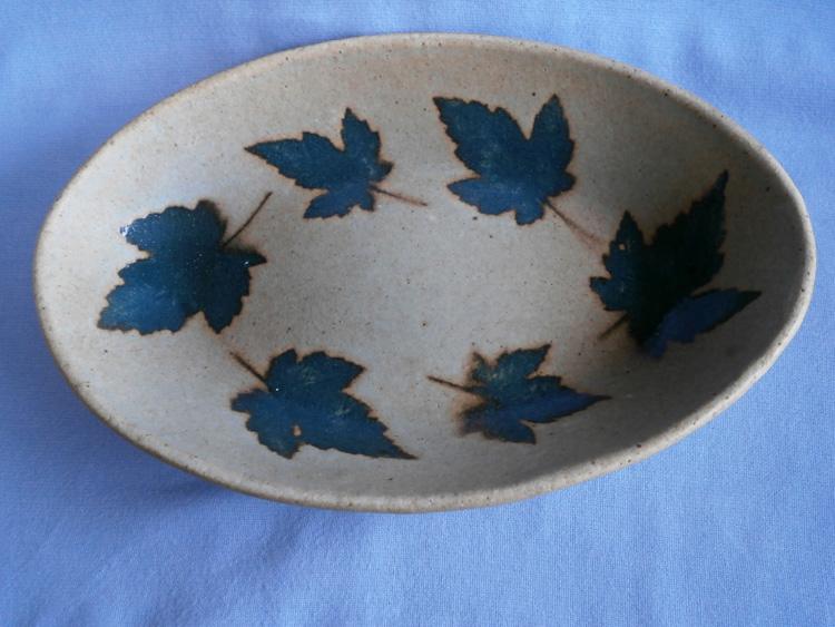 Rustic Stoneware Furness Studio Pottery, Broughton, Leaf Dish