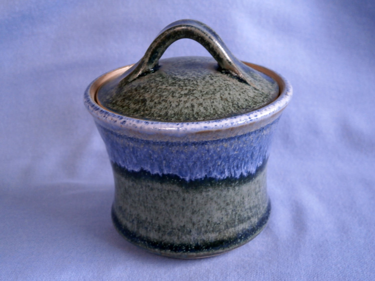 Paul Tebble Scottish Stoneware Green & Blue Lidded Pot