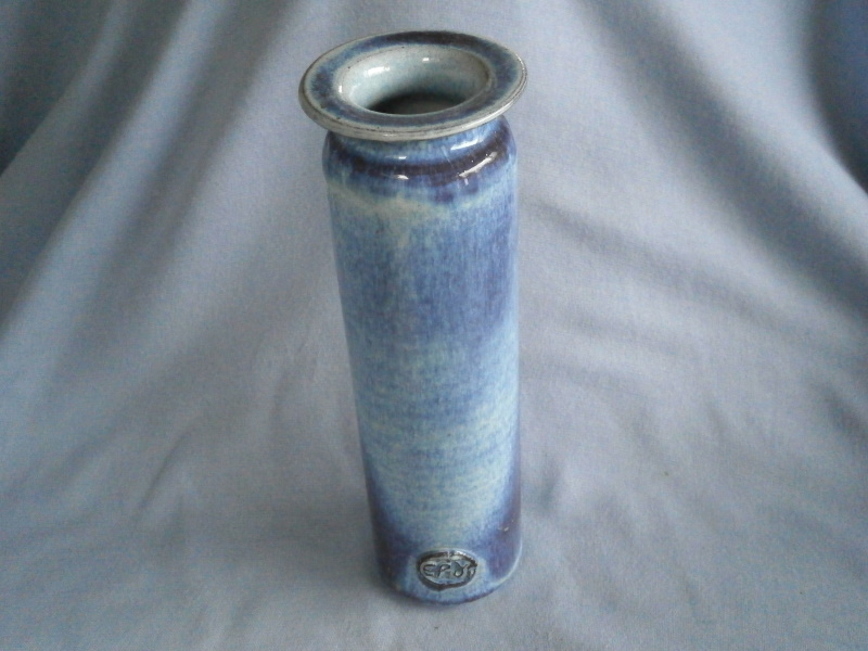 Tall Blue Studio Pottery Vase Marked EP