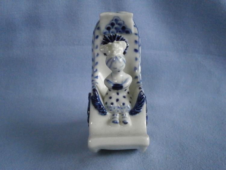 Cornish Wilfred Gibson Girl In Rocking Chair Studio Pottery Figurine